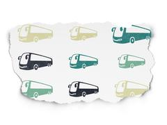 Travel concept: Bus icons on Torn Paper background Stock Illustration