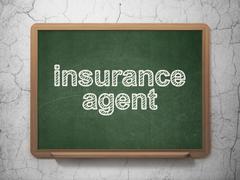 Insurance concept: Insurance Agent on chalkboard background Stock Illustration