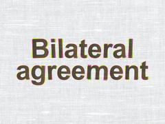 Insurance concept: Bilateral Agreement on fabric texture background Stock Illustration
