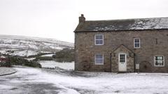 North England historic farm house snow Alston 4K Stock Footage