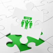 Political concept: Election Campaign on puzzle background - stock illustration