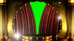 Opening red curtain stage with golden podium and lights Stock Footage