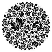 Kalocsai folk art embroidery - black Hungarian round floral folk pattern - stock illustration