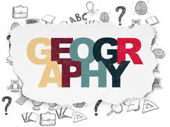 Stock Illustration of Studying concept: Geography on Torn Paper background