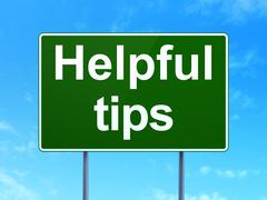 Learning concept: Helpful Tips on road sign background - stock illustration