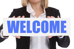 Businesswoman business concept with welcome employee staff employees refugees - stock photo