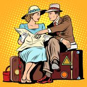 Couple of tourists looking at maps - stock illustration