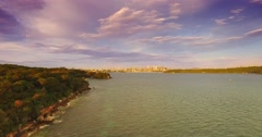 A Reverse Flight Slow Away From Sydney CBD Over Sydney Harbour Stock Footage