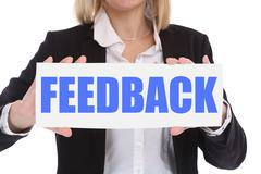 Businesswoman business concept with feedback contact customer service opinion - stock photo