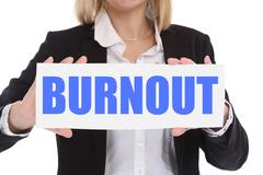 Burnout ill illness stress stressed at work businesswoman business concept - stock photo