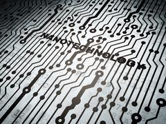 Science concept: circuit board with Nanotechnology - stock illustration