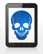 Medicine concept: Tablet Pc Computer with Scull on display - stock illustration