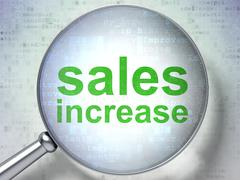 Advertising concept: Sales Increase with optical glass - stock illustration