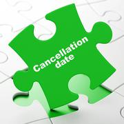 Stock Illustration of Timeline concept: Cancellation Date on puzzle background