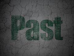 Time concept: Past on grunge wall background Stock Illustration