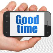 Time concept: Hand Holding Smartphone with Good Time on display - stock illustration