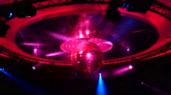 Disco ball lights in the night club, 4k footage Stock Footage