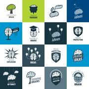 Vector brain logo - stock illustration