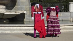 4K Beautiful Spanish costume traditional clothes popular woman man suit Madrid Stock Footage