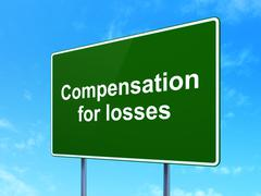 Banking concept: Compensation For losses on road sign background - stock illustration