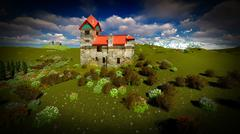 Ancient castle at sunset Stock Illustration