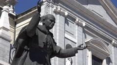 Stock Video Footage of 4K Closeup Saint John Paul II statue catholic church symbol Madrid emblem day
