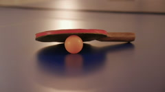 Racquet from tables tennis or ping pong on the table Stock Footage