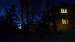 Country house night panorama - stock footage