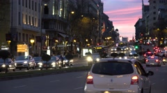 4K Traffic car busy Alcala avenue Madrid downtown crowded city vehicle pollution Stock Footage