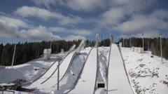 Ski jumping in Nizhny Tagil Stock Footage