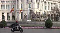 4K Traffic street Cybele Palace fountain Madrid downtown people commute travel  Stock Footage