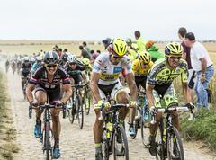 The Fight on the Cobblestones - Tour de France 2015 - stock photo