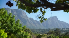 Tracking shot of Devils Peak mountain in Cape Town Stock Footage