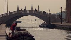 Bridge near Venice Arsenal.mp4 Stock Footage