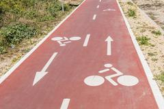 Traffic signs  drawn in the Cycleway Stock Photos