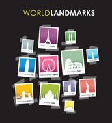 famous landmarks photo boxes - stock illustration