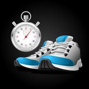 Pair of running shoes and stopwatch - healthy lifestyle Stock Illustration