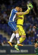 Oscar Duarte of Espanyol and Antonio Adan of Real Betis - stock photo