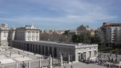4K Aerial view tourist people visit Royal Palace official residence Madrid icon Stock Footage