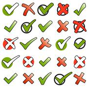collection green checkmarks and red crosses - stock illustration