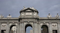4K Detail Puerta Alcala Madrid landmark famous Independence Gate Arch emblem day Stock Footage