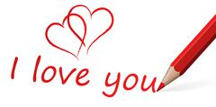 red pen with text I love you - stock illustration