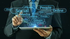 Business man pointing on social media network concept tablet pad - stock footage