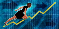 Hispanic Businesswoman Running with Chart Graph Background - stock illustration