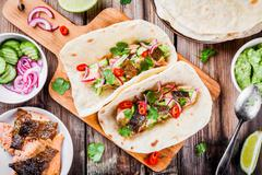 homemade tacos with salmon - stock photo