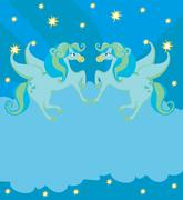 Frame with Pegasus Stock Illustration