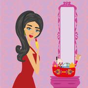 Beautiful brunette woman putting lipstick on - stock illustration