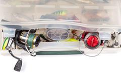 fishing tackles in storage box - stock photo
