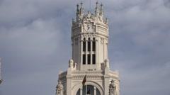 4K Cybele Palace Cibeles City hall tower ornamental clock Madrid landmark day  Stock Footage