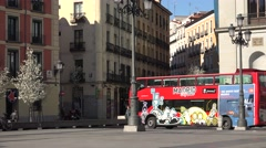 4K Touristic red bus old town Madrid tourism attraction traveler visit city icon Stock Footage